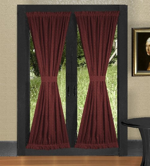 Solid burgundy dark wine colored french door curtain for Door curtains