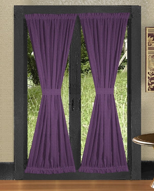 solid purple colored french door curtain available in