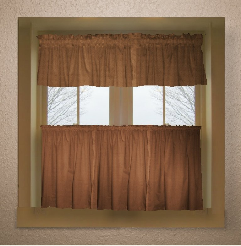 copper brown color tier kitchen curtain two panel set