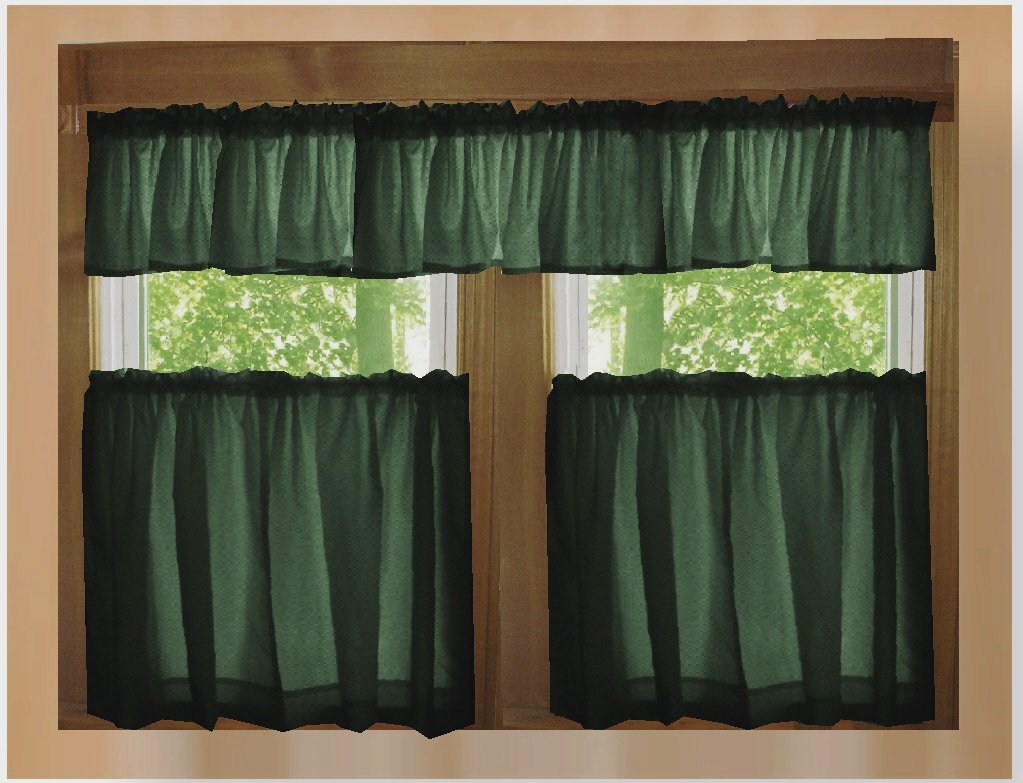 Solid Dark Forrest Green Caf Style Tier Curtain Includes 2 Valances And 2 Kitchen Curtain