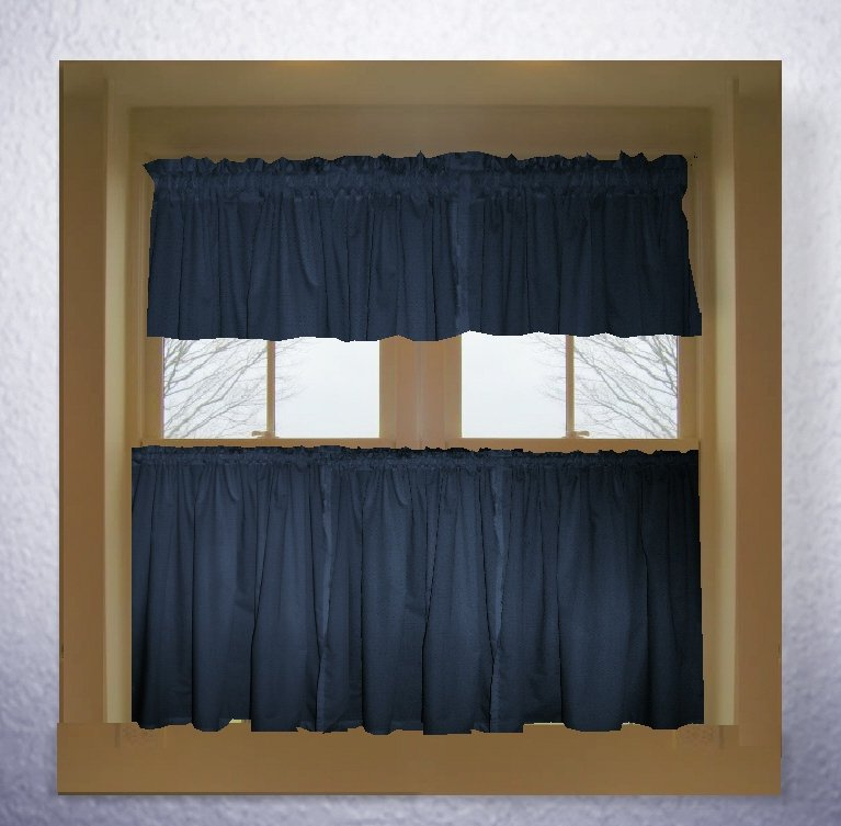 Navy Blue Color Tier Kitchen Curtain Two Panel Set