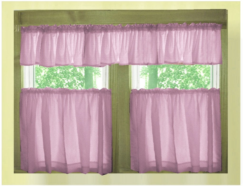 Solid Violet Purple Caf 233 Style Tier Curtain Includes 2