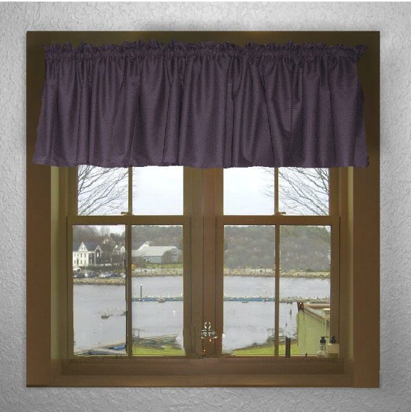 Solid Eggplant Purple Color Valance In Many Lengths
